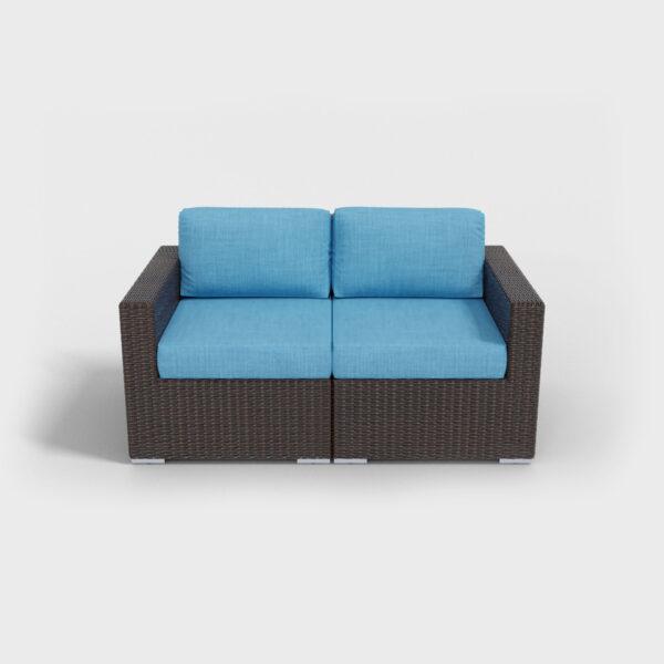 brown rattan loveseat with aqua blue cushions