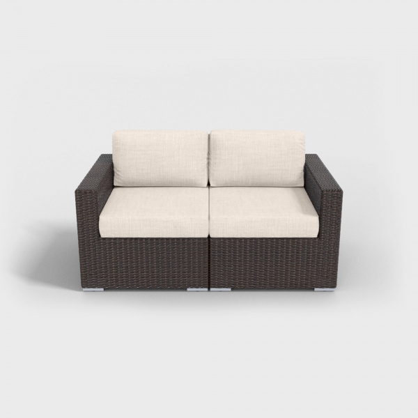 brown rattan loveseat with beige cushions