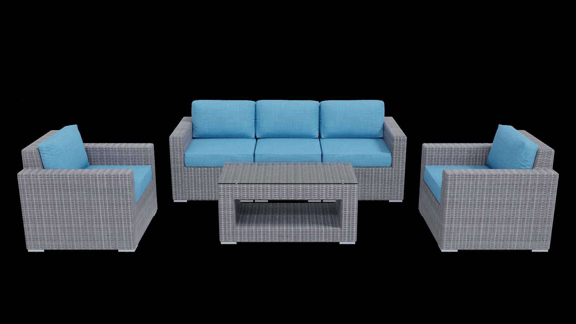 gray aqua blue rattan conversation outdoor furniture