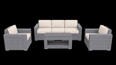 gray beige rattan conversation outdoor furniture