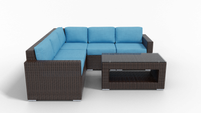 brown rattan sectional outdoor furniture with cushions