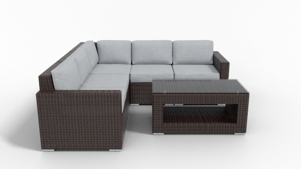 brown gray rattan sectional outdoor furnitur