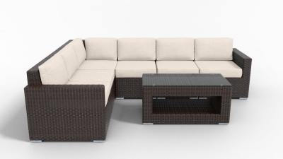 rattan sectional 6 piece furniture with beige cushions