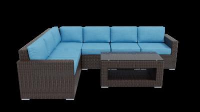 rattan sectional 6 piece furniture with aqua blue cushions