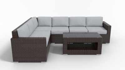 rattan sectional 6 piece furniture with gray cushions