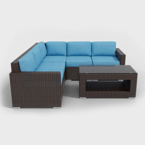 brown rattan sectional 6 piece with aqua blue cushions