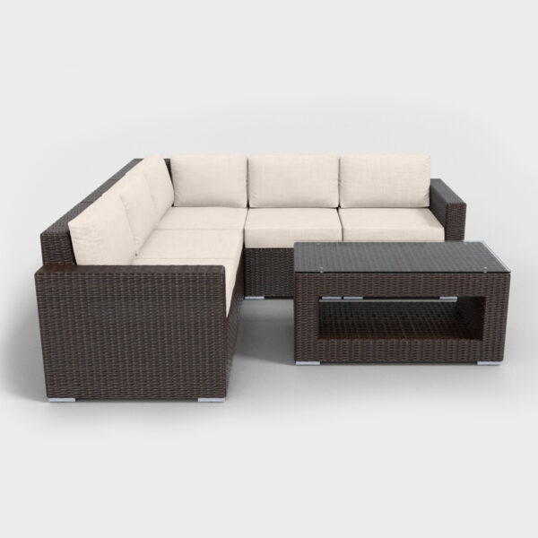 brown rattan sectional 6 piece with beige cushions