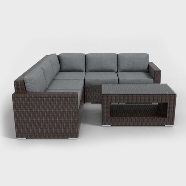 brown rattan sectional 6 piece with charcoal cushions