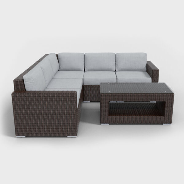brown rattan sectional 6 piece with light gray cushions