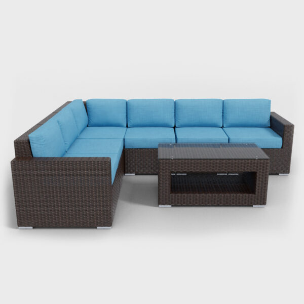 brown rattan sectional 7 piece with aqua blue cushions