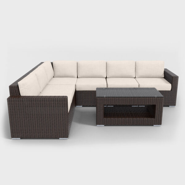 brown rattan sectional 7 piece with beige cushions