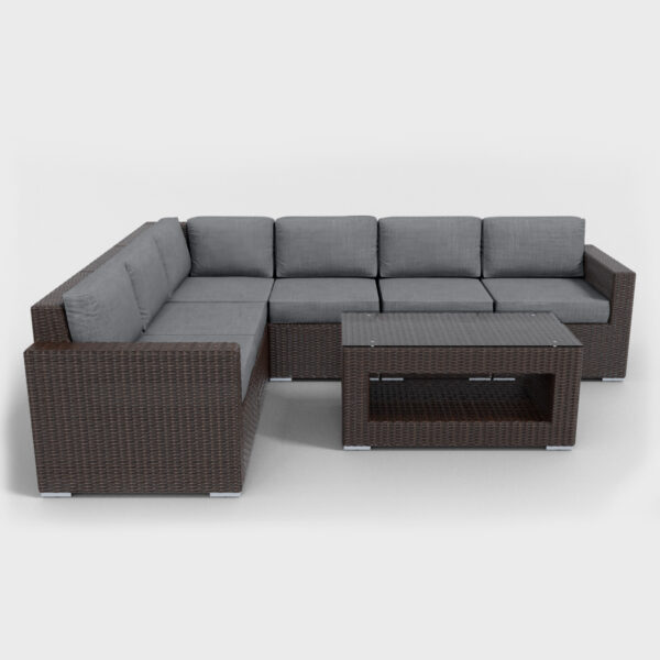 brown rattan sectional 7 piece with charcoal cushions
