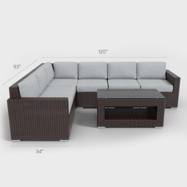 """120"""" x 93"""" x 32"""" brown rattan sectional 7 piece with gray cushions"""