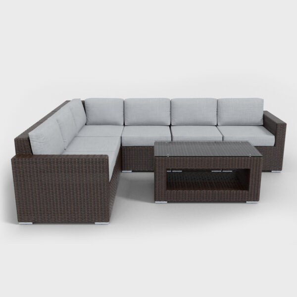 brown rattan sectional 7 piece with light gray cushions