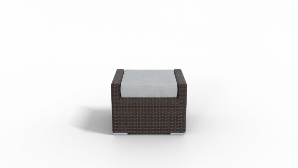 brown rattan footrest furniture with gray cushion