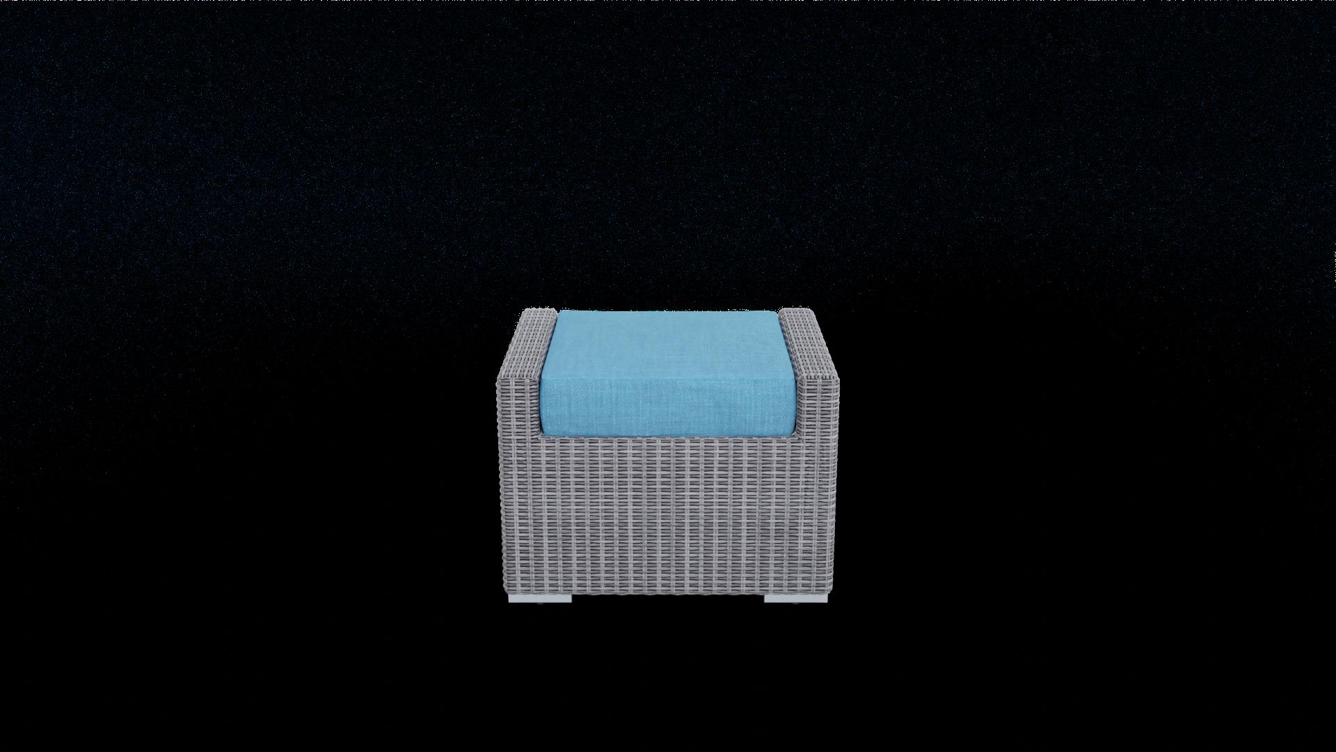 gray rattan footrest furniture with aqua blue cushion