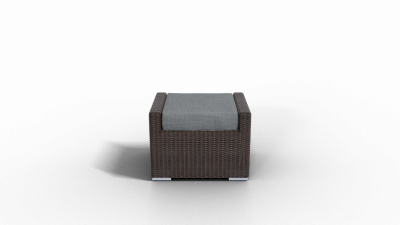 brown rattan footrest furniture with charcoal cushion