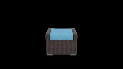 brown rattan footrest furniture with aqua blue cushion