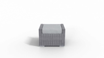rattan footrest furniture with gray cushion