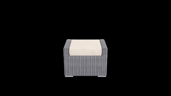 rattan footrest furniture with beige cushion
