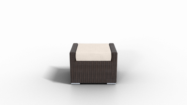 brown rattan footrest furniture with beige cushion