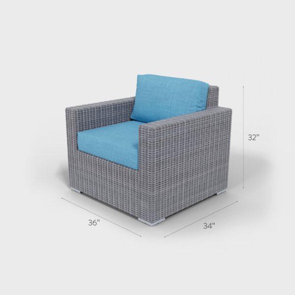 "36"" x 34"" x 32"" light gray rattan armchair with aqua blue cushions"