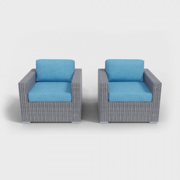light gray rattan armchairs with aqua blue cushions