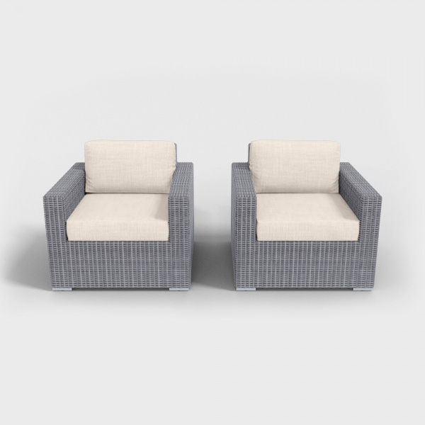 light gray rattan armchairs with beige cushions