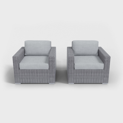 light gray rattan armchairs with gray cushions