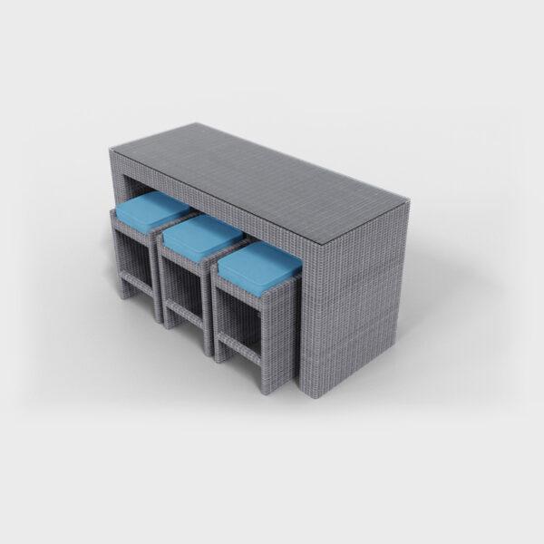 sideview of a gray rattan bar set and aqua blue cushions
