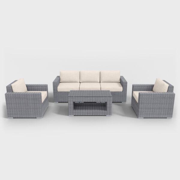 light gray rattan conversation 6 piece with beige cushions