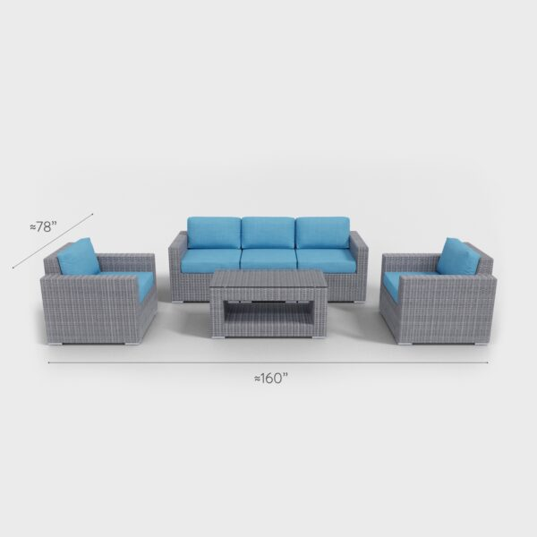 "160"" x 78"" rattan conversation 6 piece with aqua blue cushions"