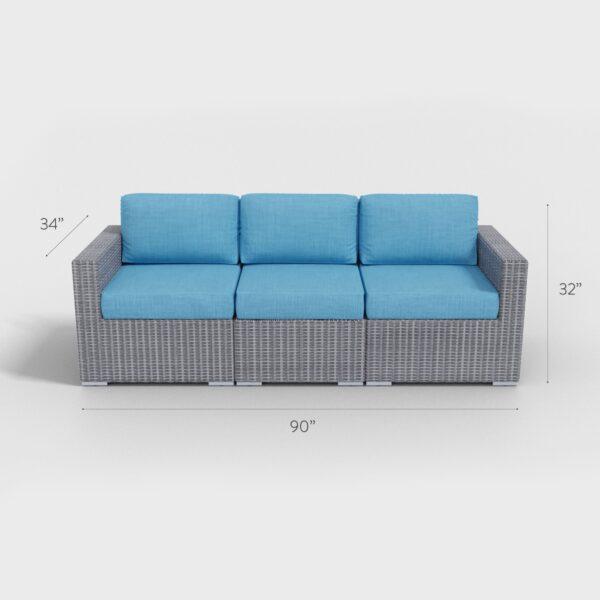 "90"" x 34"" x 32"" rattan light gray sofa with aqua blue cushions"
