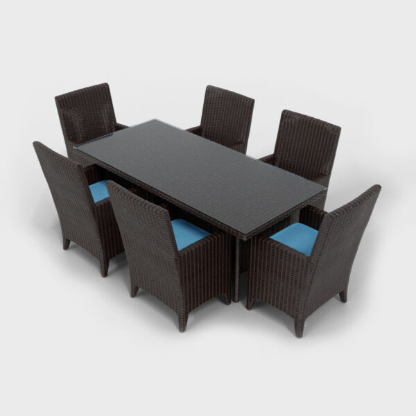 brown rattan rectangular dining set aqua blue cushions