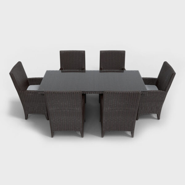 brown rattan rectangular dining set front view