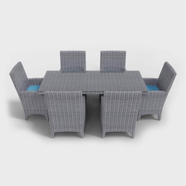 light gray rattan rectangular dining set front view