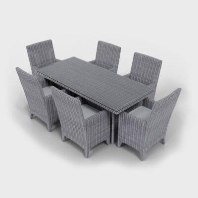 gray rattan rectangular dining set side view