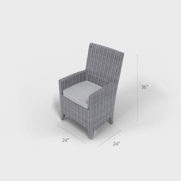 "36"" x 24"" x 24"" gray rectangular rattan dining chair with a gray cushion"