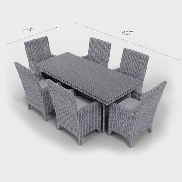 """107"""" x 73"""" gray rattan rectangular dining set"""