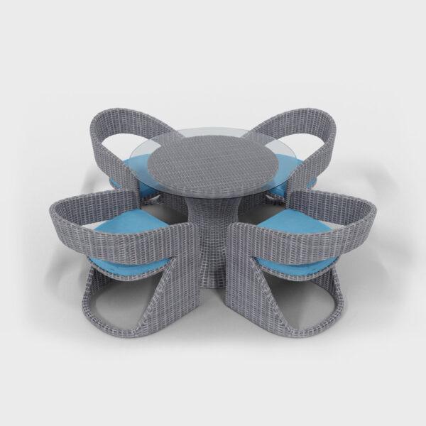 light gray rattan round dining set with aqua blue cushions
