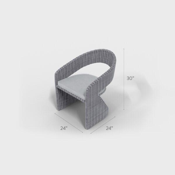 "24"" x 24"" x 30"" light gray rattan round dining chair"
