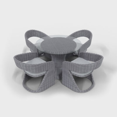 gray rattan round dining set with glass