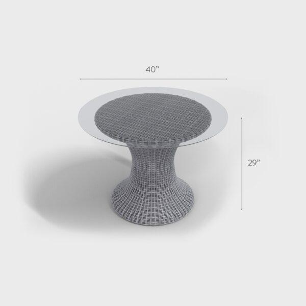 """40"""" x 29"""" light gray rattan glass top table"""