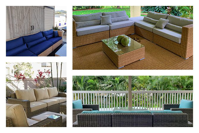 brown and gray rattan outdoor furniture sets with pillows