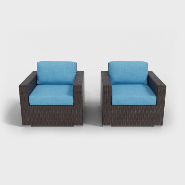 aqua-blue rattan armchairs