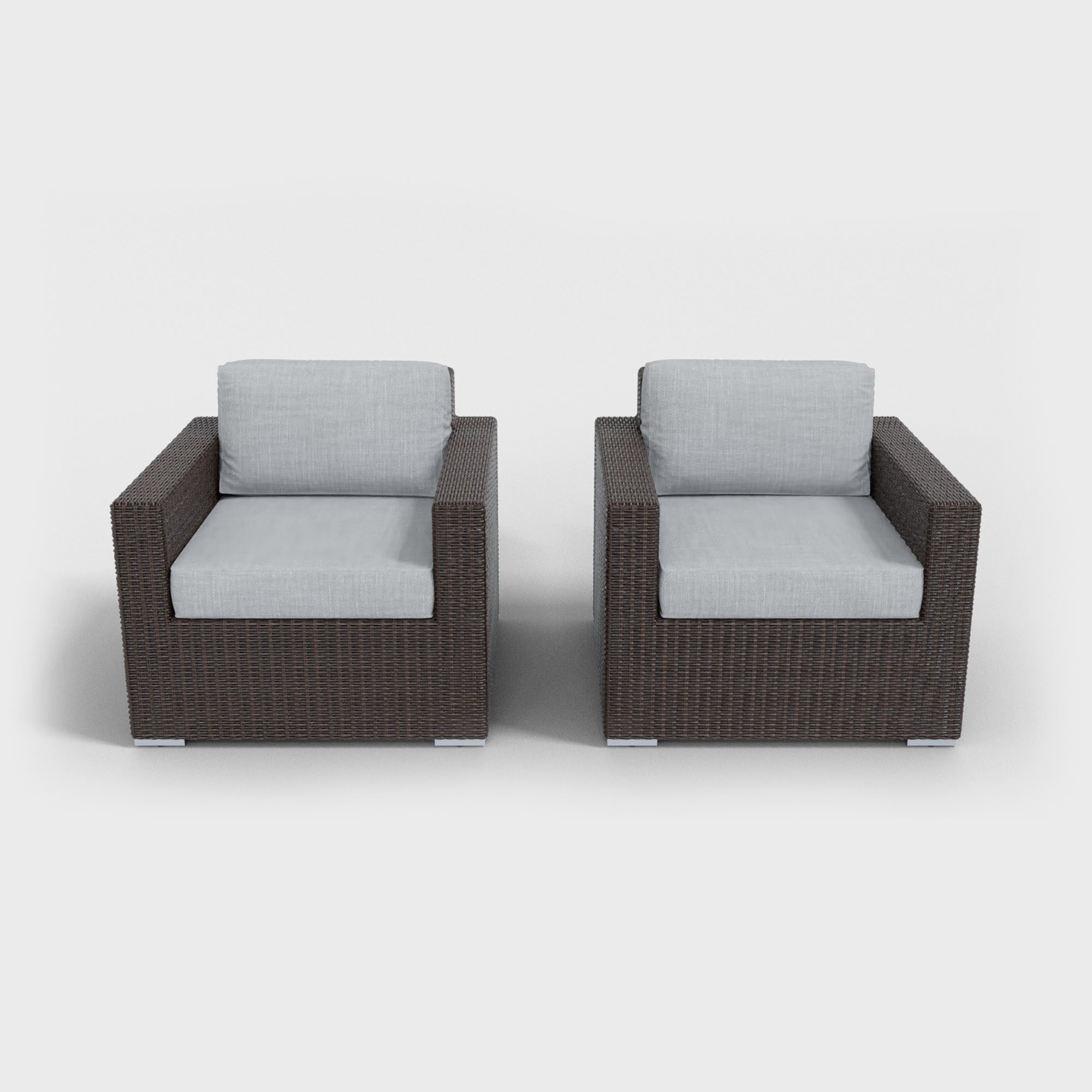 light gray rattan armchairs
