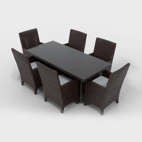 rectangular rattan dining set