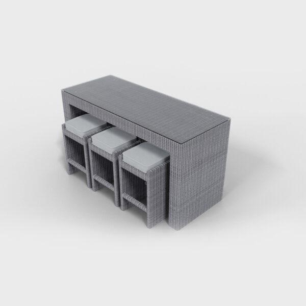 rattan light gray bar set
