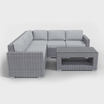 light gray sectional six piece furniture