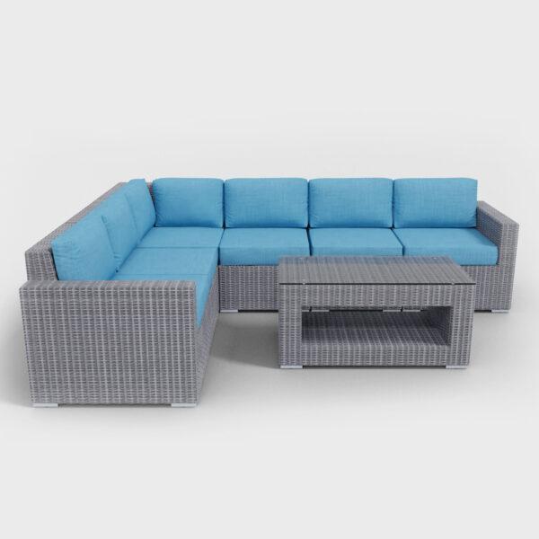 aqua-blue sectional seven piece rattan furniture